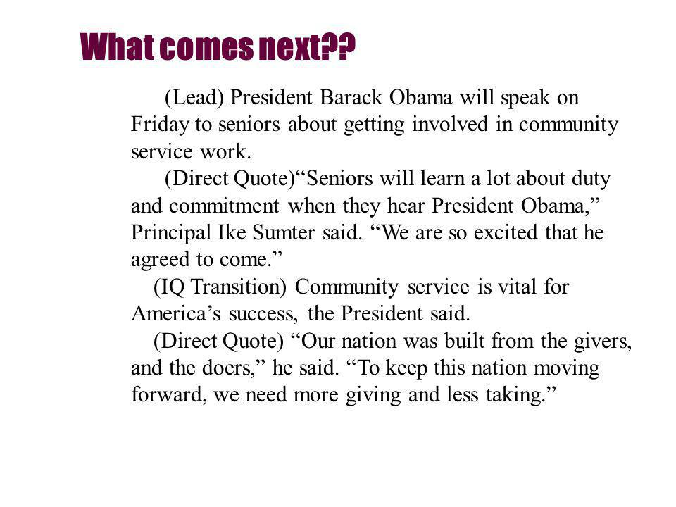 (Lead) President Barack Obama will speak on Friday to seniors about getting involved in community service work.