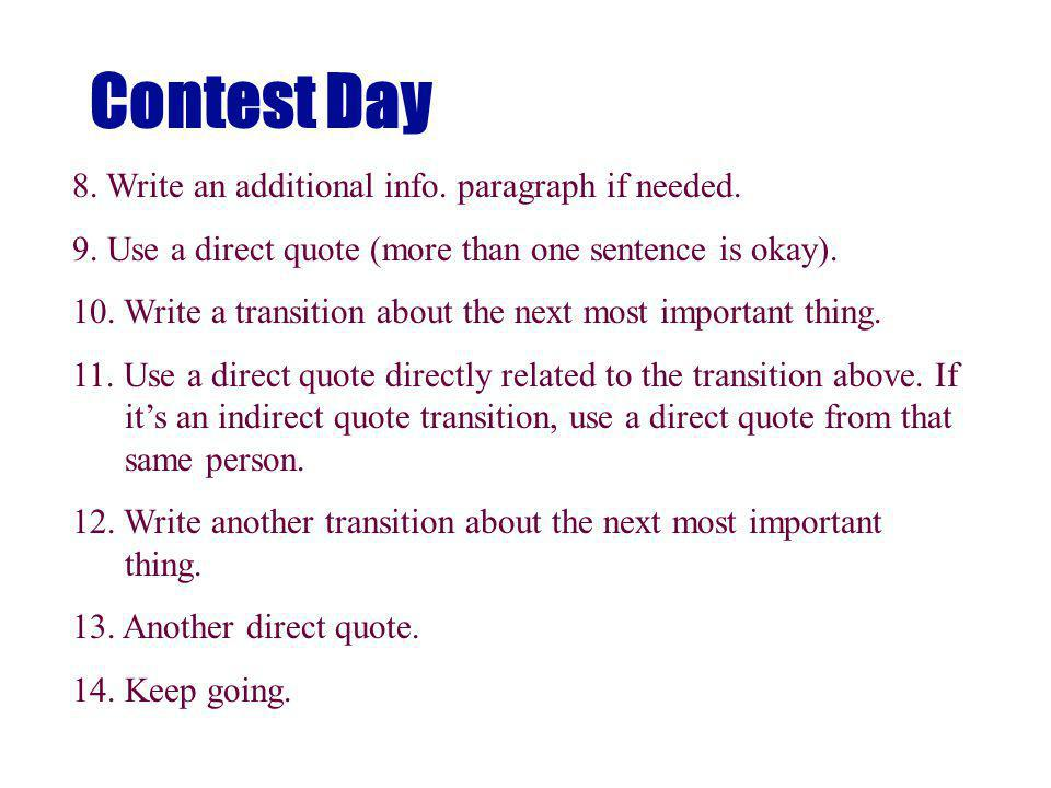 Contest Day 8. Write an additional info. paragraph if needed.