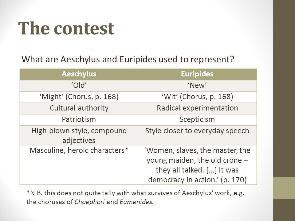 The contest What are Aeschylus and Euripides used to represent.