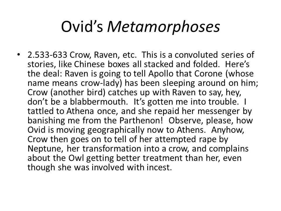 Ovids Metamorphoses Crow, Raven, etc.