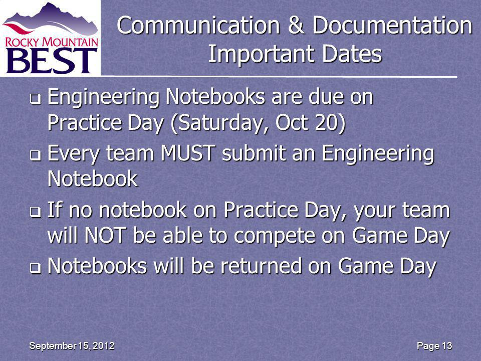 Communication & Documentation Important Dates Engineering Notebooks are due on Practice Day (Saturday, Oct 20) Engineering Notebooks are due on Practice Day (Saturday, Oct 20) Every team MUST submit an Engineering Notebook Every team MUST submit an Engineering Notebook If no notebook on Practice Day, your team will NOT be able to compete on Game Day If no notebook on Practice Day, your team will NOT be able to compete on Game Day Notebooks will be returned on Game Day Notebooks will be returned on Game Day Page 13 September 15, 2012