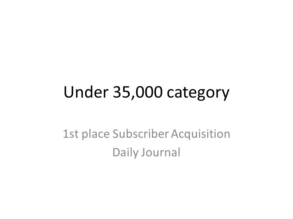 Under 35,000 category 1st place Subscriber Acquisition Daily Journal