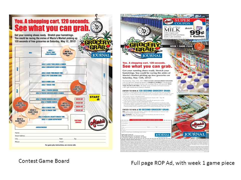 Contest Game Board Full page ROP Ad, with week 1 game piece