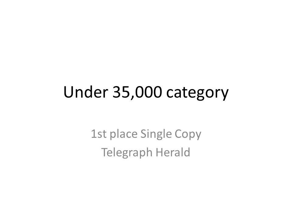 Under 35,000 category 1st place Single Copy Telegraph Herald
