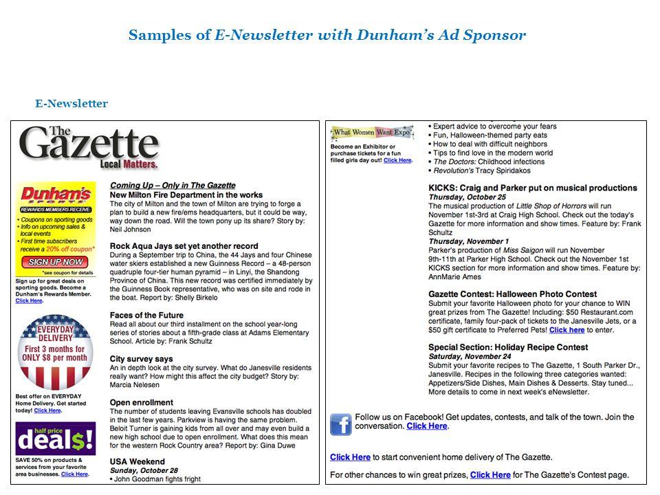 Samples of E-Newsletter with Dunhams Ad Sponsor E-Newsletter