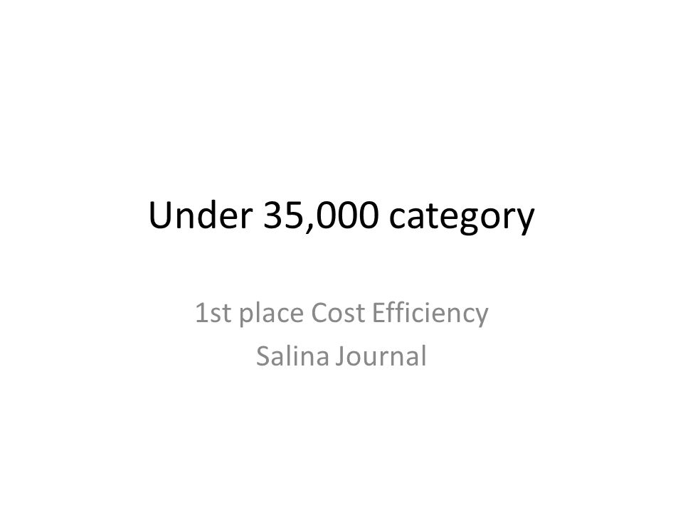 Under 35,000 category 1st place Cost Efficiency Salina Journal