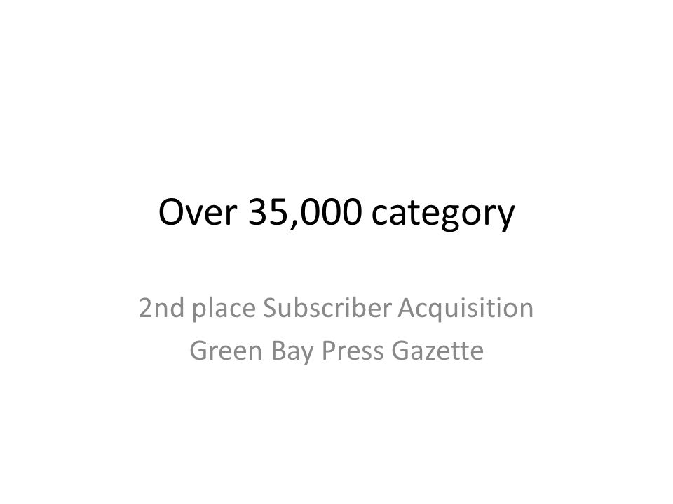 Over 35,000 category 2nd place Subscriber Acquisition Green Bay Press Gazette