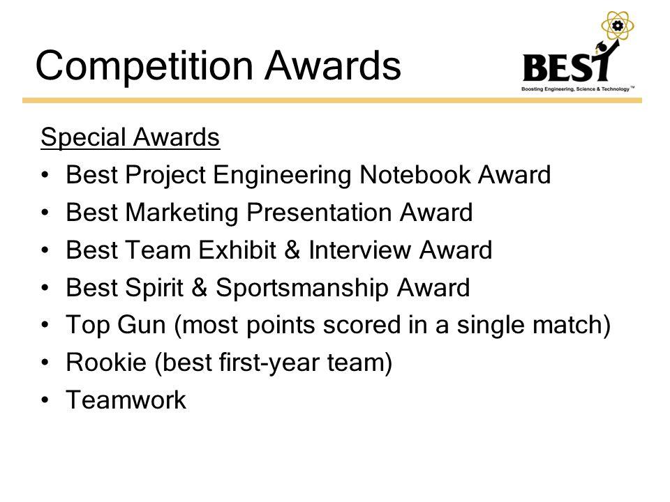 Competition Awards Special Awards Best Project Engineering Notebook Award Best Marketing Presentation Award Best Team Exhibit & Interview Award Best Spirit & Sportsmanship Award Top Gun (most points scored in a single match) Rookie (best first-year team) Teamwork