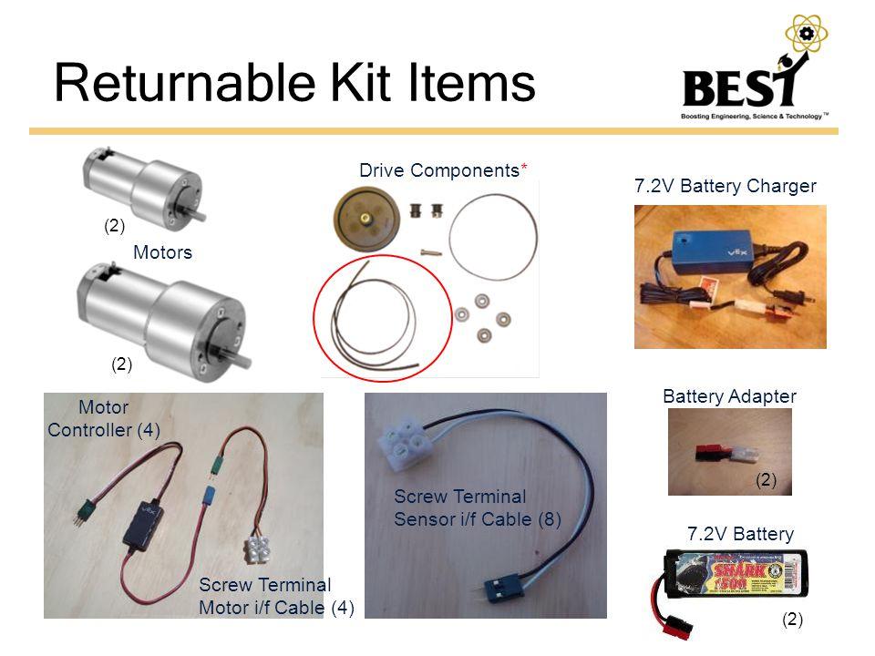 (2) Motors Drive Components* Motor Controller (4) Screw Terminal Motor i/f Cable (4) Screw Terminal Sensor i/f Cable (8) 7.2V Battery 7.2V Battery Charger Battery Adapter (2)
