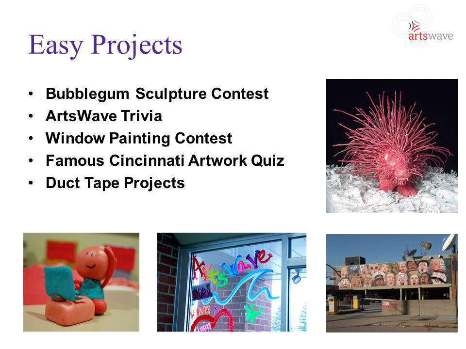 Easy Projects Bubblegum Sculpture Contest ArtsWave Trivia Window Painting Contest Famous Cincinnati Artwork Quiz Duct Tape Projects
