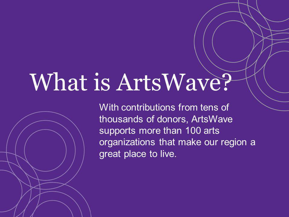 With contributions from tens of thousands of donors, ArtsWave supports more than 100 arts organizations that make our region a great place to live.