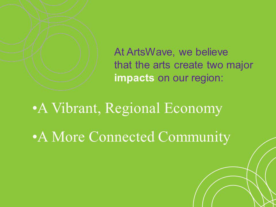 At ArtsWave, we believe that the arts create two major impacts on our region: A More Connected Community A Vibrant, Regional Economy