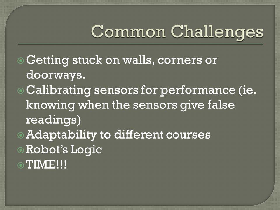 Getting stuck on walls, corners or doorways. Calibrating sensors for performance (ie.