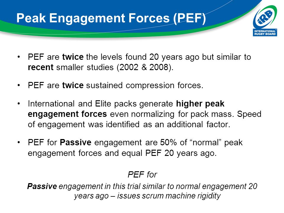 Peak Engagement Forces (PEF) PEF are twice the levels found 20 years ago but similar to recent smaller studies (2002 & 2008). PEF are twice sustained