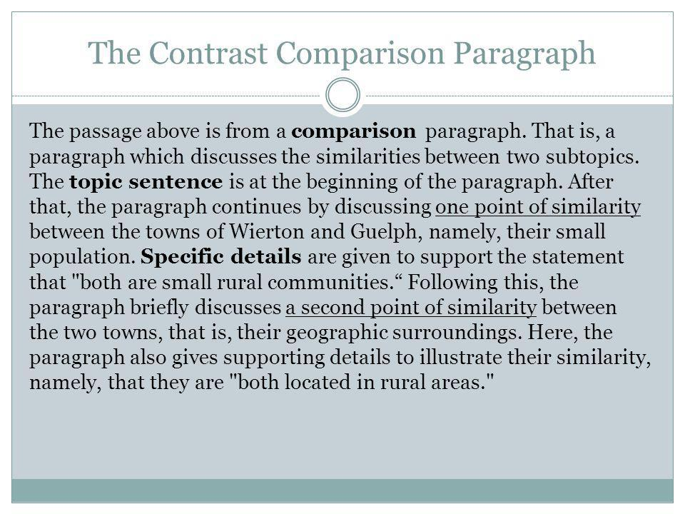 The Contrast Comparison Paragraph The passage above is from a comparison paragraph. That is, a paragraph which discusses the similarities between two
