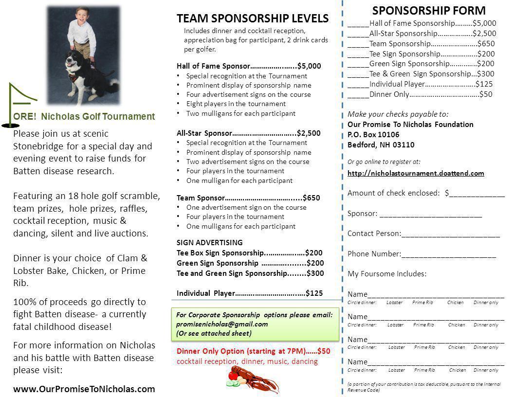 TEAM SPONSORSHIP LEVELS Includes dinner and cocktail reception, appreciation bag for participant, 2 drink cards per golfer. Hall of Fame Sponsor…………….