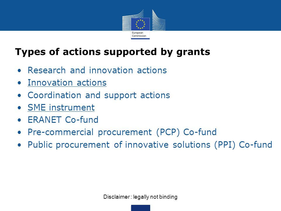 Types of actions supported by grants Research and innovation actions Innovation actions Coordination and support actions SME instrument ERANET Co-fund Pre-commercial procurement (PCP) Co-fund Public procurement of innovative solutions (PPI) Co-fund Disclaimer : legally not binding