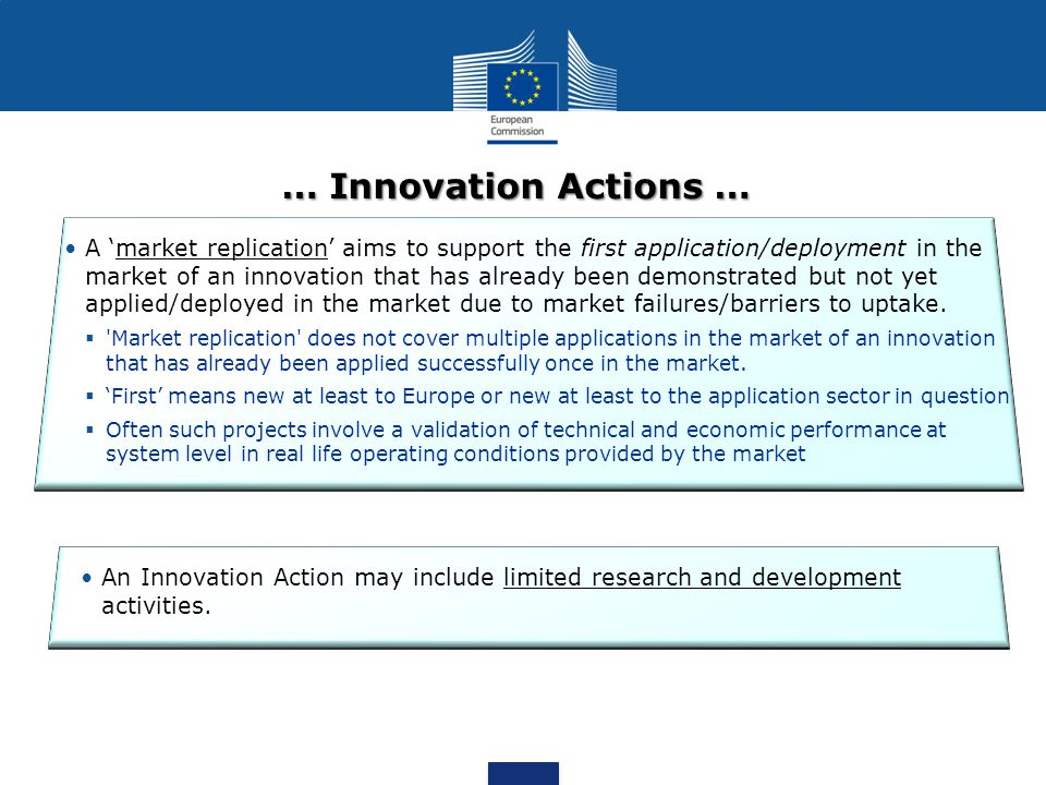 … Innovation Actions … A market replication aims to support the first application/deployment in the market of an innovation that has already been demonstrated but not yet applied/deployed in the market due to market failures/barriers to uptake.