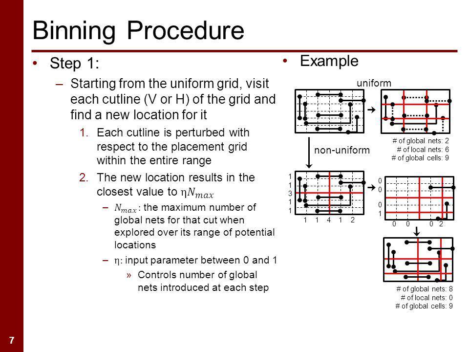 7 Binning Procedure Example # of global nets: 2 # of local nets: 6 # of global cells: 9 # of global nets: 8 # of local nets: 0 # of global cells: 9 non-uniform uniform 0 0 0 2 0000 0101 1 1 4 1 2 113113 1111