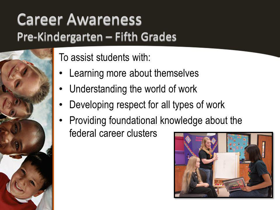 Career Awareness Pre-Kindergarten – Fifth Grades To assist students with: Learning more about themselves Understanding the world of work Developing respect for all types of work Providing foundational knowledge about the federal career clusters