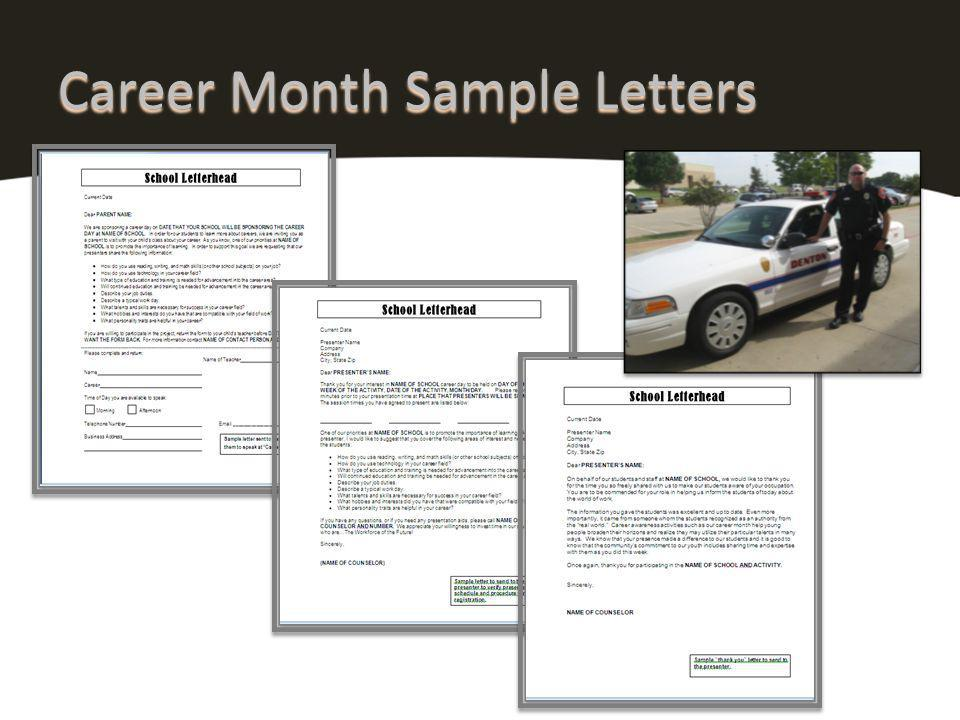 Career Month Sample Letters