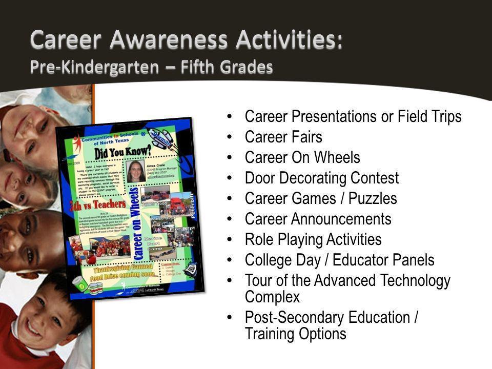 Career Awareness Activities: Pre-Kindergarten – Fifth Grades Career Presentations or Field Trips Career Fairs Career On Wheels Door Decorating Contest