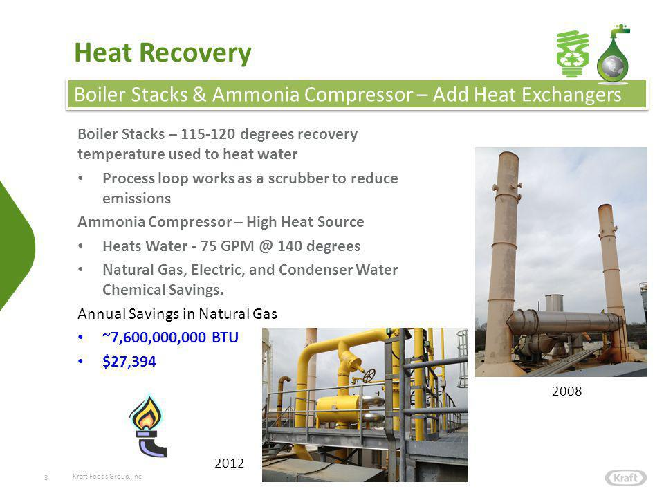 Kraft Foods Group, Inc. Heat Recovery Boiler Stacks – 115-120 degrees recovery temperature used to heat water Process loop works as a scrubber to redu