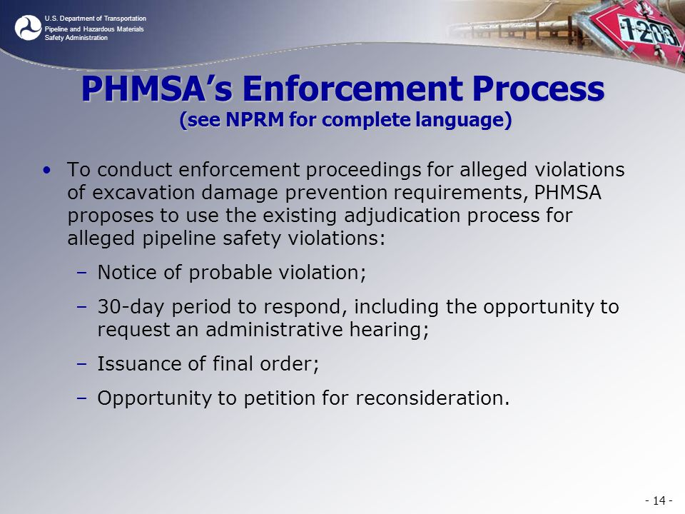 U.S. Department of Transportation Pipeline and Hazardous Materials Safety Administration PHMSAs Enforcement Process (see NPRM for complete language) T