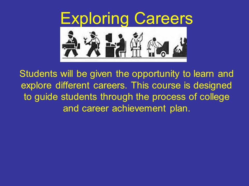 Exploring Careers Students will be given the opportunity to learn and explore different careers. This course is designed to guide students through the