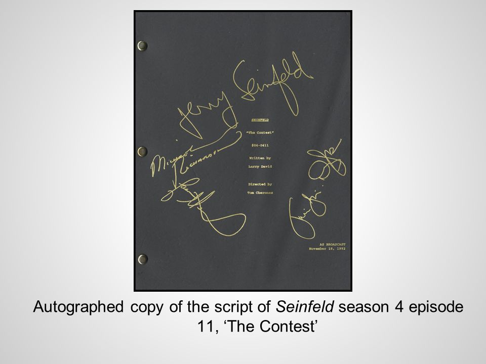 Autographed copy of the script of Seinfeld season 4 episode 11, The Contest