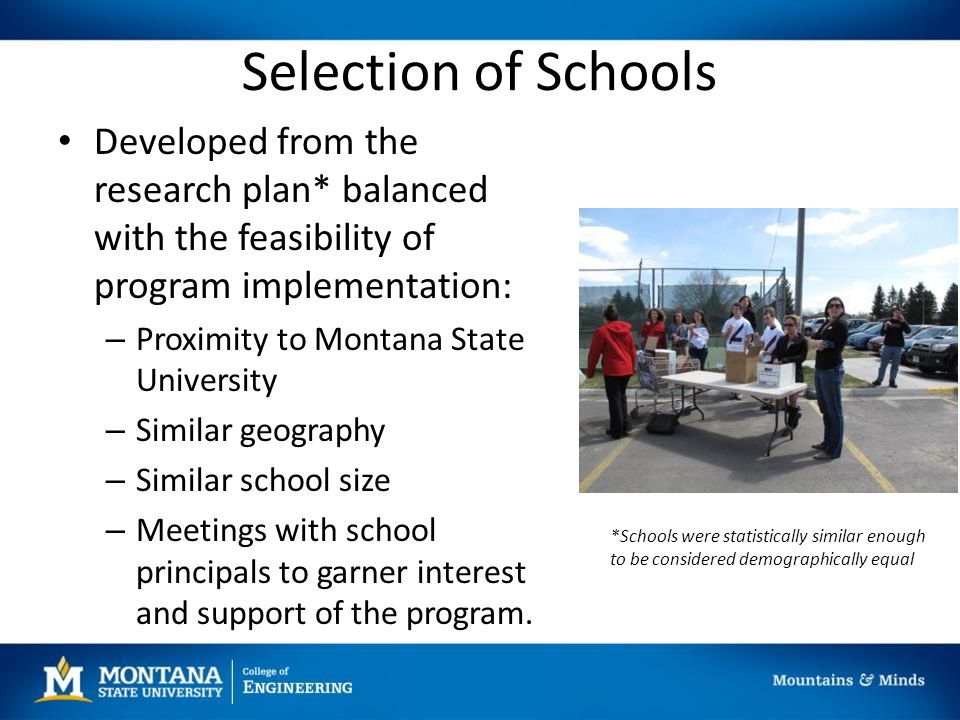 Selection of Schools Developed from the research plan* balanced with the feasibility of program implementation: – Proximity to Montana State University – Similar geography – Similar school size – Meetings with school principals to garner interest and support of the program.