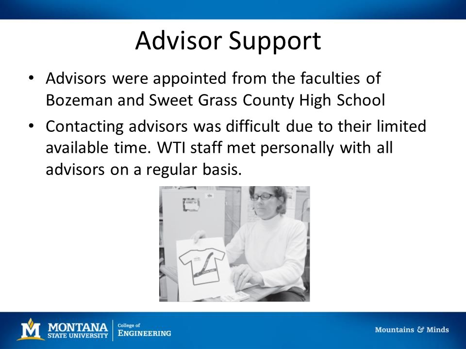 Advisor Support Advisors were appointed from the faculties of Bozeman and Sweet Grass County High School Contacting advisors was difficult due to their limited available time.