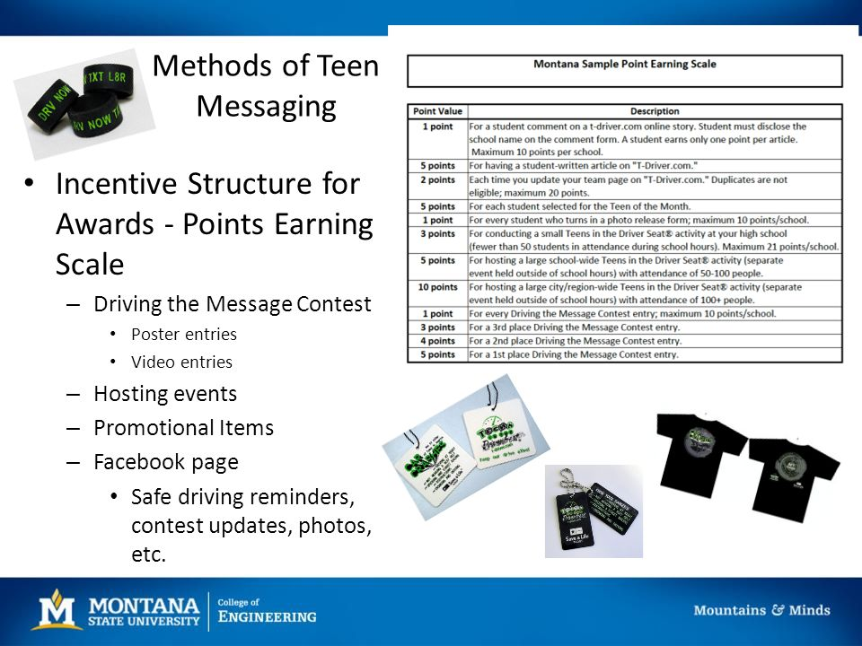 Methods of Teen Messaging Incentive Structure for Awards - Points Earning Scale – Driving the Message Contest Poster entries Video entries – Hosting events – Promotional Items – Facebook page Safe driving reminders, contest updates, photos, etc.