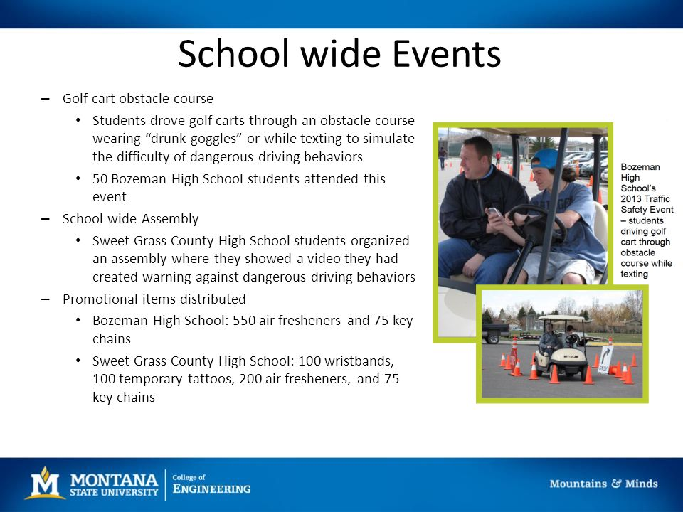 School wide Events – Golf cart obstacle course Students drove golf carts through an obstacle course wearing drunk goggles or while texting to simulate the difficulty of dangerous driving behaviors 50 Bozeman High School students attended this event – School-wide Assembly Sweet Grass County High School students organized an assembly where they showed a video they had created warning against dangerous driving behaviors – Promotional items distributed Bozeman High School: 550 air fresheners and 75 key chains Sweet Grass County High School: 100 wristbands, 100 temporary tattoos, 200 air fresheners, and 75 key chains