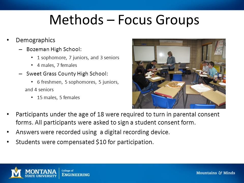Methods – Focus Groups Demographics – Bozeman High School: 1 sophomore, 7 juniors, and 3 seniors 4 males, 7 females – Sweet Grass County High School: 6 freshmen, 5 sophomores, 5 juniors, and 4 seniors 15 males, 5 females Participants under the age of 18 were required to turn in parental consent forms.