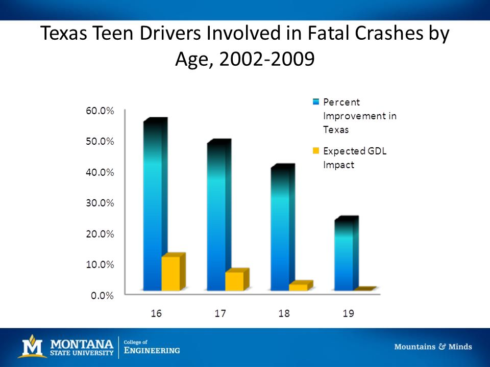 Texas Teen Drivers Involved in Fatal Crashes by Age, 2002-2009