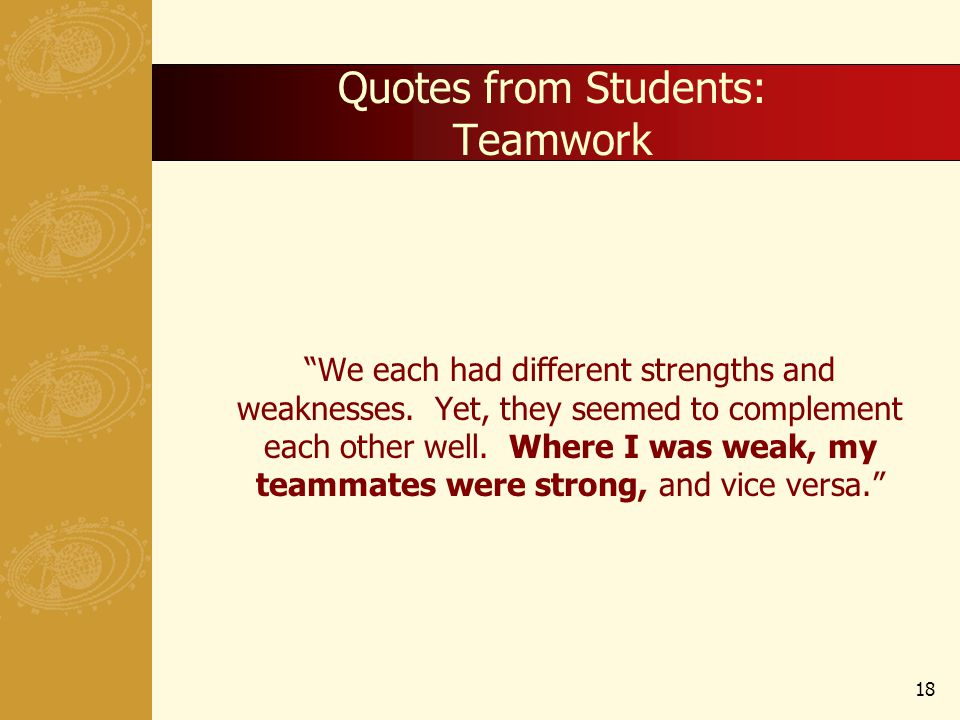 Quotes from Students: Teamwork We each had different strengths and weaknesses.