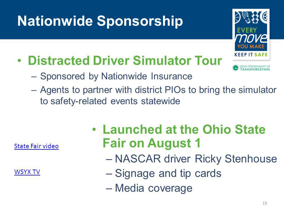 19 State Fair video WSYX TV Nationwide Sponsorship Distracted Driver Simulator Tour –Sponsored by Nationwide Insurance –Agents to partner with district PIOs to bring the simulator to safety-related events statewide Launched at the Ohio State Fair on August 1 –NASCAR driver Ricky Stenhouse –Signage and tip cards –Media coverage