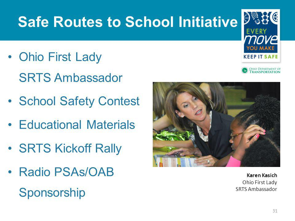Safe Routes to School Initiative 31 Ohio First Lady SRTS Ambassador School Safety Contest Educational Materials SRTS Kickoff Rally Radio PSAs/OAB Sponsorship Karen Kasich Ohio First Lady SRTS Ambassador