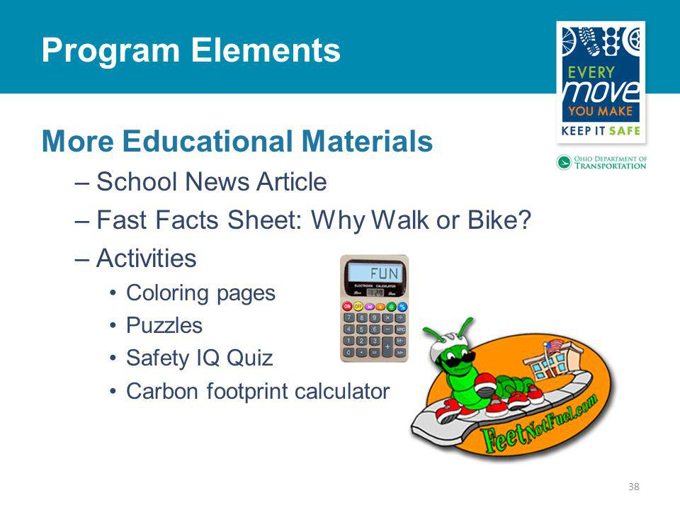 More Educational Materials –School News Article –Fast Facts Sheet: Why Walk or Bike.