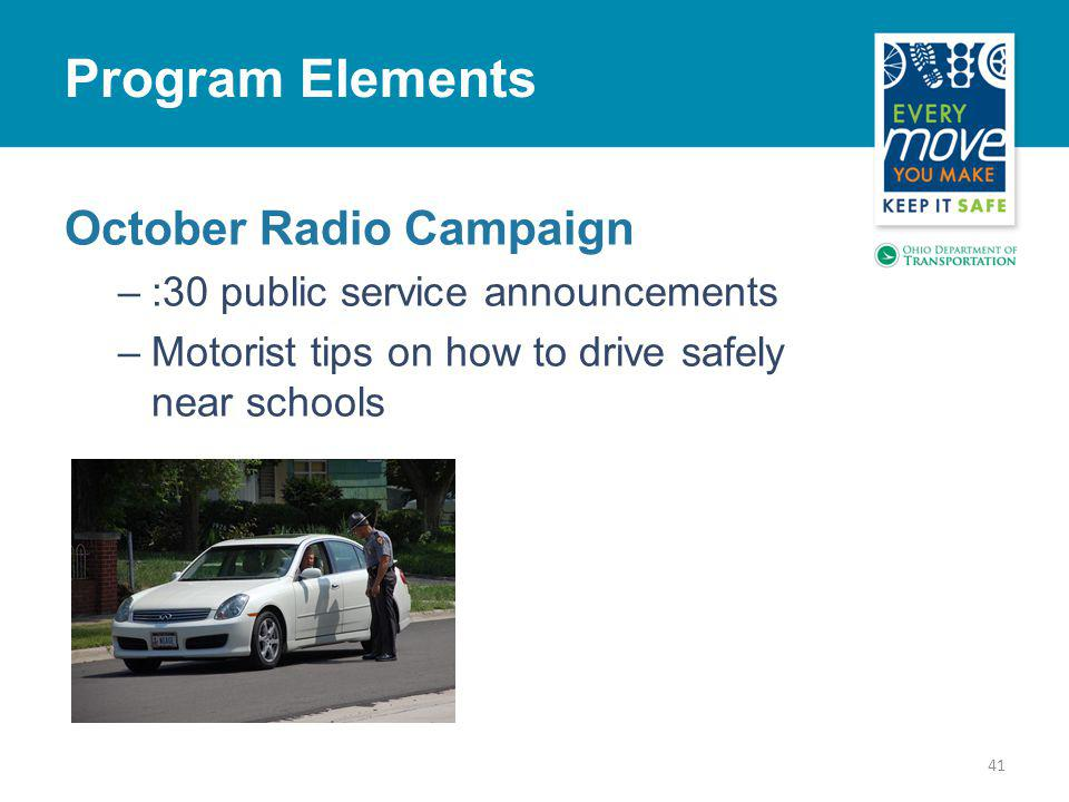 October Radio Campaign –:30 public service announcements –Motorist tips on how to drive safely near schools 41 Program Elements