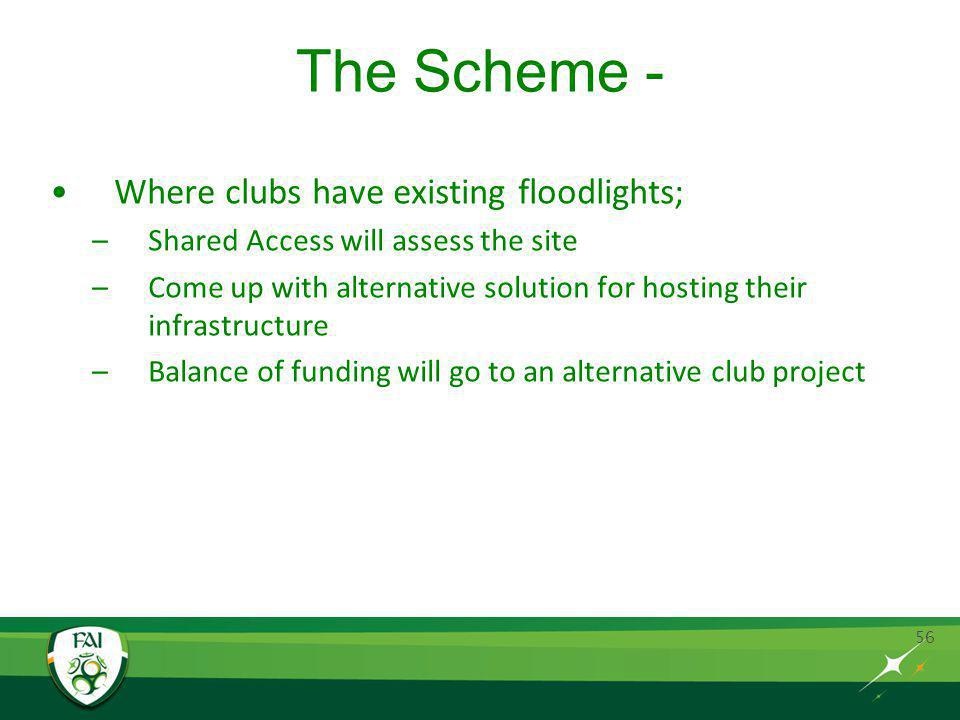The Scheme - Where clubs have existing floodlights; –Shared Access will assess the site –Come up with alternative solution for hosting their infrastructure –Balance of funding will go to an alternative club project 56