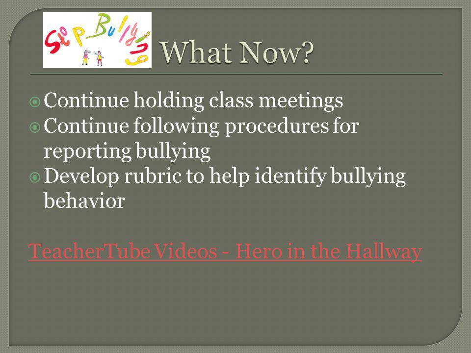 Continue holding class meetings Continue following procedures for reporting bullying Develop rubric to help identify bullying behavior TeacherTube Videos - Hero in the Hallway