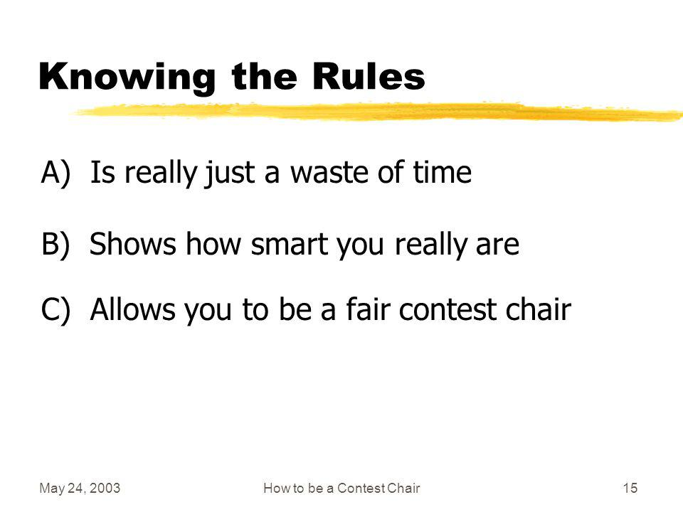 May 24, 2003How to be a Contest Chair14 Roles