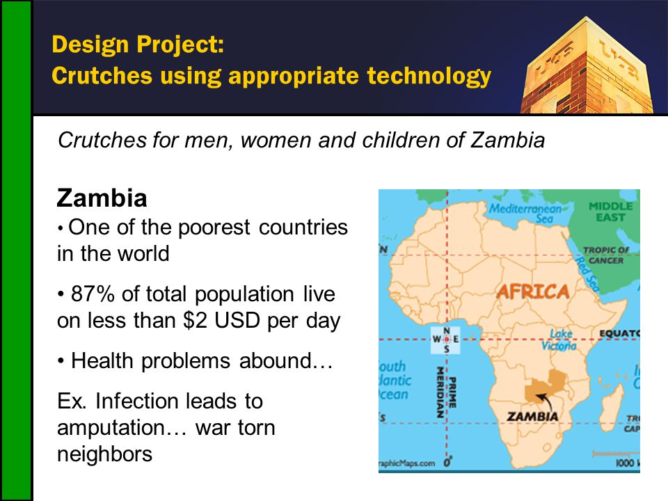 Design Project: Crutches using appropriate technology Crutches for men, women and children of Zambia Zambia One of the poorest countries in the world