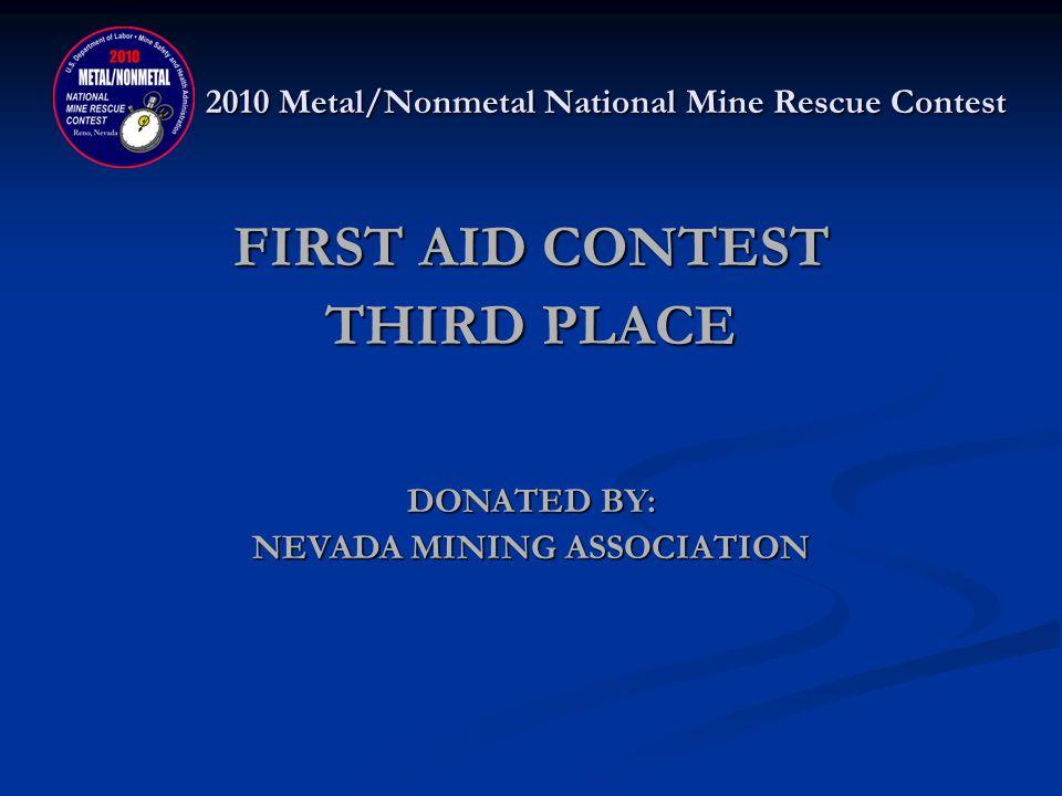 2010 Metal/Nonmetal National Mine Rescue Contest FIRST AID THIRD PLACE OCI BLUE Chuck Jones, Richard Clark, Jake Knotson