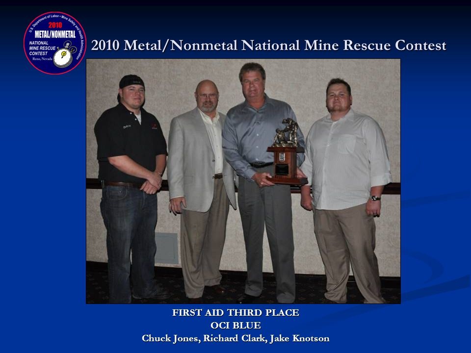 2010 Metal/Nonmetal National Mine Rescue Contest FIRST AID CONTEST SECOND PLACE DONATED BY: NEW MEXICO MINING ASSOCIATION