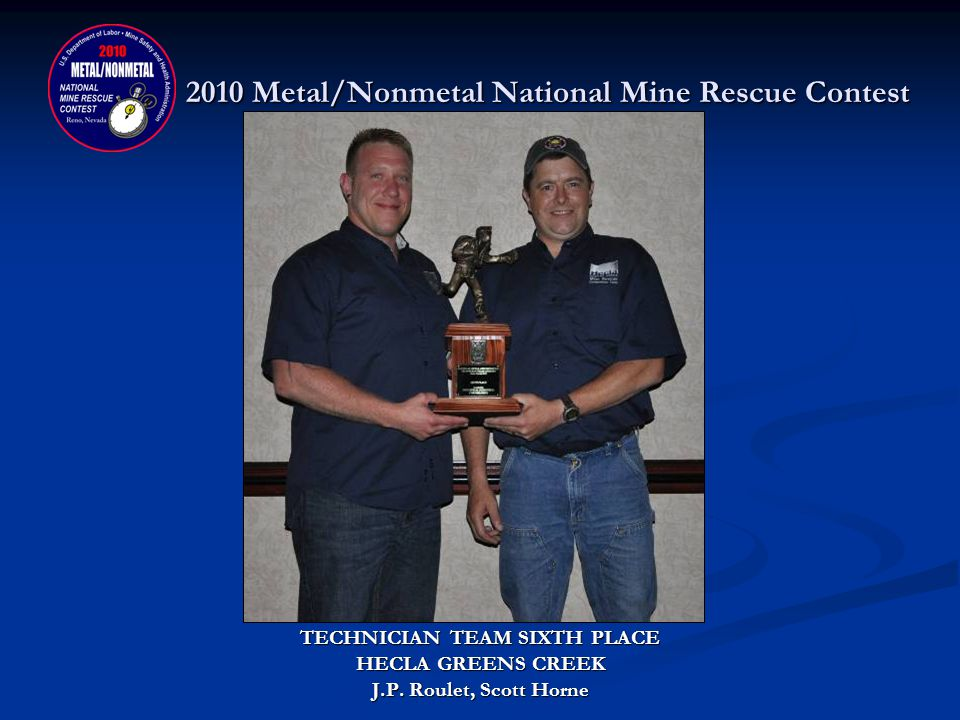 2010 Metal/Nonmetal National Mine Rescue Contest TECHNICIAN TEAM FIFTH PLACE DONATED BY: INDUSTRIAL SCIENTIFIC CORPORATION