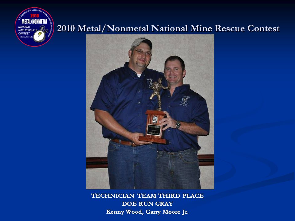 2010 Metal/Nonmetal National Mine Rescue Contest TECHNICIAN TEAM SECOND PLACE DONATED BY: INDUSTRIAL SCIENTIFIC CORPORATION