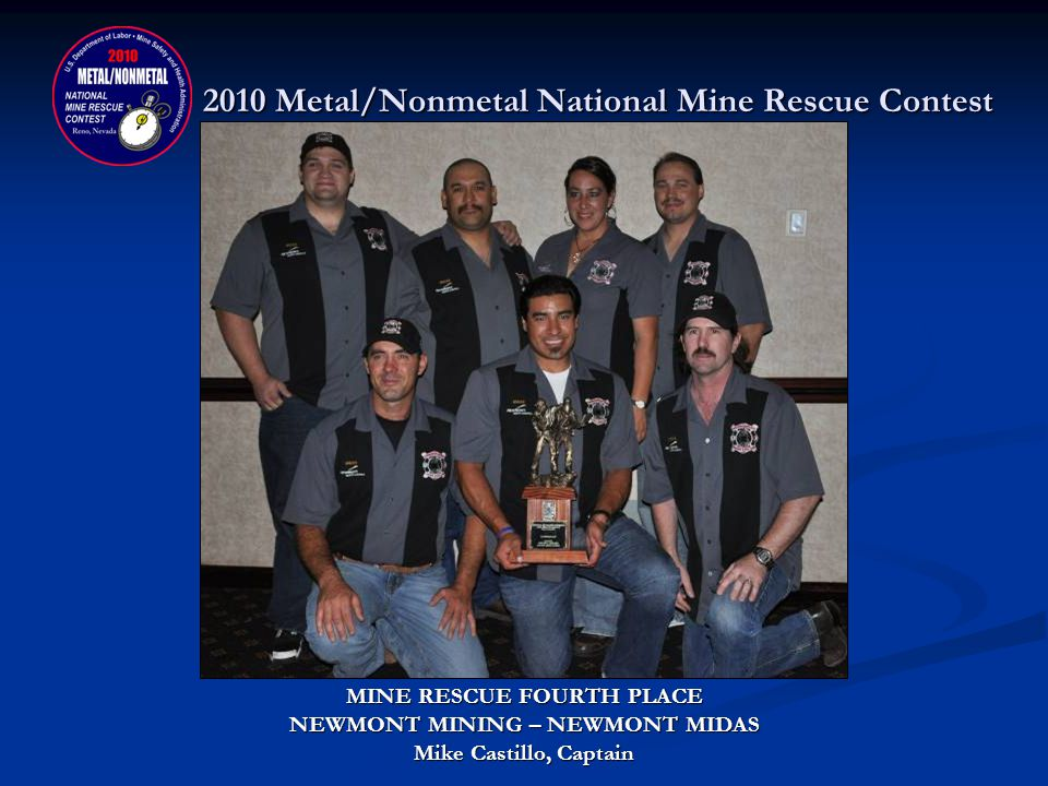2010 Metal/Nonmetal National Mine Rescue Contest MINE RESCUE THIRD PLACE DONATED BY: COLORADO DIVISION OF RECLAMATION, MINING & SAFETY